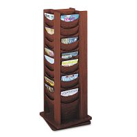 Safco Rotary Display, 48 Compartments, 17-3/4w x 17-3/4d x 49-1/2h, Mahogany SAF4335MH