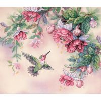 Dimensions Hummingbird & Fuchsias Stamped Cross Stitch Kit NOTM316293