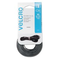 Velcro Reusable Self-Gripping Ties, 1/2 x Eight Inches, Black/Gray, 50 Ties/Pack VEK90924