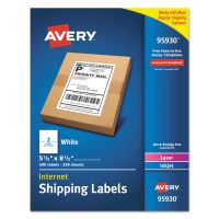 Avery White Shipping Labels, Inkjet/Laser, 5 1/2 x 8 1/2, White, 500/Box AVE95930