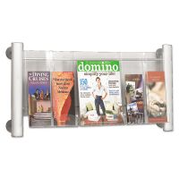Safco Luxe Magazine Rack, Three Compartments, 31-3/4w x 5d x 15-1/4h, Clear/Silver SAF4133SL
