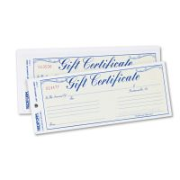 Rediform Gift Certificates w/Envelopes, 8-1/2w x 3-2/3h, Blue/Gold, 25/Pack RED98002