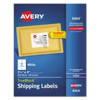 Avery Shipping Labels with TrueBlock Technology, Inkjet, 3 1/3 x 4, White, 600/Box AVE8464