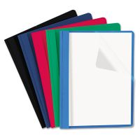 Universal Clear Front Report Cover, Tang Fasteners, Letter Size, Assorted Colors, 25/Box UNV57119
