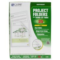 C-Line Project Folders, Letter, Heavyweight, Reduced Glare, Clear, 25/Box CLI62627