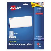 Avery Easy Peel Return Address Labels, Inkjet, 1/2 x 1 3/4, White, 2000/Pack AVE8167