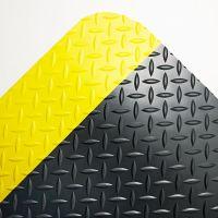 Crown Industrial Deck Plate Anti-Fatigue Mat, Vinyl, 36 x 60, Black/Yellow Border CWNCD0035YB