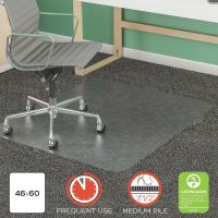 "deflecto SuperMat Frequent Use Chair Mat, Rectangle, 46"" x 60"", Medium Pile, Lip, Clear DEFCM14443FCOM"