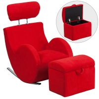 Flash Furniture HERCULES Series Red Fabric Rocking Chair with Storage Ottoman FHFLD2025RDGG