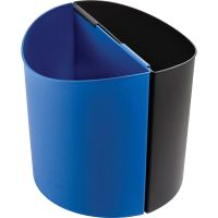 Safco Mayline Desk-Side Recycling Receptacle, 3gal, Plastic, Black and Blue SAF9927BB