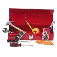Great Neck 16-Piece Light-Duty Office Tool Kit, Metal Box, Red GNSCTB9