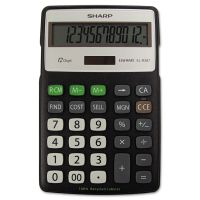 Sharp EL-R287BBK Recycled Series Calculator w/Kickstand, 12-Digit LCD SHRELR287BBK