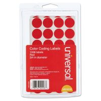 """Universal Self-Adhesive Removable Color-Coding Labels, 3/4"""" dia, Red, 1008/Pack UNV40103"""
