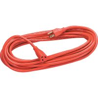Fellowes Indoor/Outdoor Heavy-Duty 3-Prong Plug Extension Cord, 1-Outlet, 50ft, Orange FEL99598