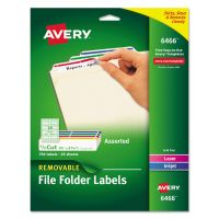 Avery Removable 1/3-Cut File Folder Labels, Inkjet/Laser, .66 x 3.44, WE/ASST, 750/PK AVE6466