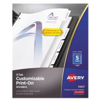 Avery Customizable Print-On Dividers, 5-Tab, White Tab, Letter, 1 Set AVE11511
