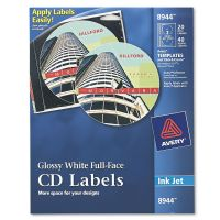 Avery Inkjet Full-Face CD Labels, Glossy White, 20/Pack AVE8944