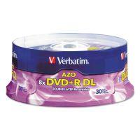 Verbatim Dual-Layer DVD+R Discs, 8.5GB, 8x, Spindle, 30/PK, Silver VER96542