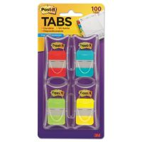 Post-it Tabs File Tabs, 1 x 1 1/2, Aqua/Lime/Red/Yellow, 100/Pack MMM686RALY