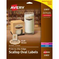 Avery&reg Kraft Brown Scalloped Labels AVE22855