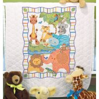 Dimensions Baby Hugs Mod Zoo Quilt Stamped Cross Stitch Kit NOTM406296