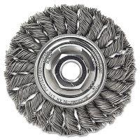 """Weiler Dualife STA-4 Twist Knot Wire Wheel, 4"""" dia, Stainless Steel, .014 Wire WEI13113"""