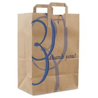 "Duro Bag Stock Thank You Handle Bags, 12""w x 7""d x 17""h, Brown Kraft, 300/Bundle DRO41265"