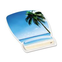 3M Fun Design Clear Gel Mouse Pad Wrist Rest, 6 4/5 x 8 3/5 x 3/4, Beach Design MMMMW308BH