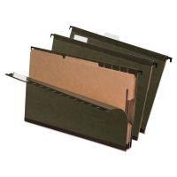 Pendaflex SureHook Reinforced Hanging Folder, 2 Divider, Legal, 1/5 Tab, Green, 10/Box PFX59354