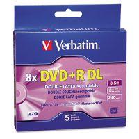 Verbatim Dual-Layer DVD+R Discs, 8.5GB, 8x, w/Jewel Cases, 5/Pack, Silver VER95311