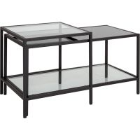 Flash Furniture Westerly Multi-Tiered Glass Coffee Table with Black Metal Frame FHFHG112345GG