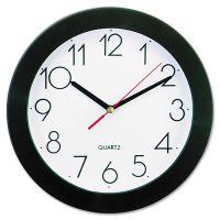 "Universal Round Wall Clock, 9 3/4"", Black UNV10421"