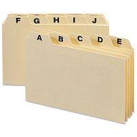 Smead Self-Tab Card Guides, Alpha, 1/5 Tab, Manila, 5 x 3, 25/Set SMD55076