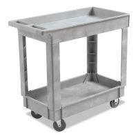 Boardwalk Utility Cart, Two-Shelf, 16w x 34d, Swivel Casters, Resin, Gray BWK3416UCGRA