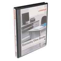 "Universal Economy 3-Ring View Binder, 1/2"" Capacity, Round Ring, Black UNV20951"