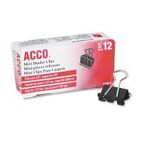 """ACCO Mini Binder Clips, Steel Wire, 1/4"""" Cap, 1/2""""w, Black/Silver, Dozen ACC72010"""