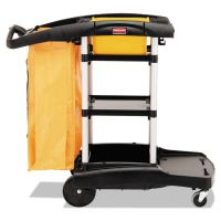 Rubbermaid Commercial High Capacity Cleaning Cart, 21-3/4w x 49-3/4d x 38-3/8h, Black RCP9T7200BK