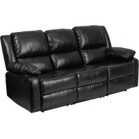 Flash Furniture Harmony Series Black Leather Sofa with Two Built-In Recliners FHFBT70597SOFGG