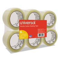 "Universal General-Purpose Acrylic Box Sealing Tape, 48mm x 100m, 3"" Core, Clear, 6/Pack UNV63120"