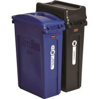 Rubbermaid Commercial Slim Jim Recycling Container, Rectangular, 23 gal, Black/Blue RCP1998896