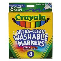 Crayola Washable Markers, Broad Point, Classic Colors, 8/Pack CYO587808