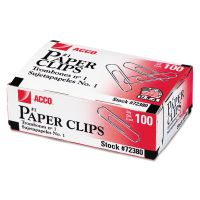 ACCO Smooth Standard Paper Clip, #1, Silver, 100/Box, 10 Boxes/Pack ACC72380