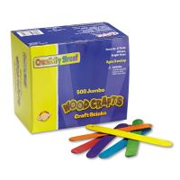 Chenille Kraft Colored Wood Craft Sticks, Jumbo, 6 x 3/4, Wood, Assorted, 500/Box CKC377602