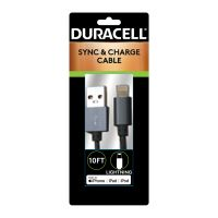 Duracell Sync And Charge Cable, Micro USB, iPhone, 10 ft ECAPRO905