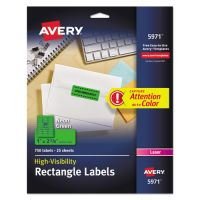 Avery High-Visibility Permanent ID Labels, Laser, 1 x 2 5/8, Neon Green, 750/Pack AVE5971