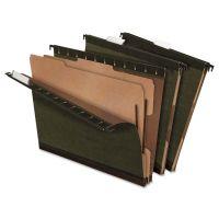 Pendaflex SureHook Reinforced Hanging Folder, 2 Dividers, Letter, 1/5 Tab, Green, 10/Box PFX59254