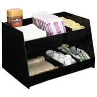 Boardwalk Condiment Organizer, 14 1/3 x 10 1/2 x 9 2/3, 6-Compartment, Black BWK99001