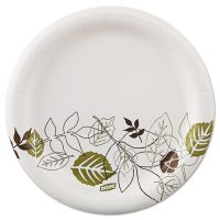 "Dixie Pathways Soak-Proof Shield Mediumweight Paper Plates, 6 7/8"", Grn/Burg, 125/Pk DXEUX7WSPK"