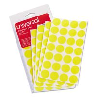 "Universal Self-Adhesive Removable Color-Coding Labels, 3/4"" dia, Yellow, 1008/Pack UNV40114"