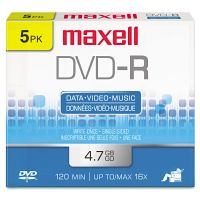 Maxell DVD-R Discs, 4.7GB, 16x, w/Jewel Cases, Gold, 5/Pack MAX638002